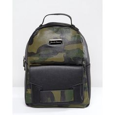 Claudia Canova Camo Print Backpack (92 LYD) ❤ liked on Polyvore featuring bags, backpacks, green, faux-leather bags, backpack bags, green backpack, fake leather backpack and green bags