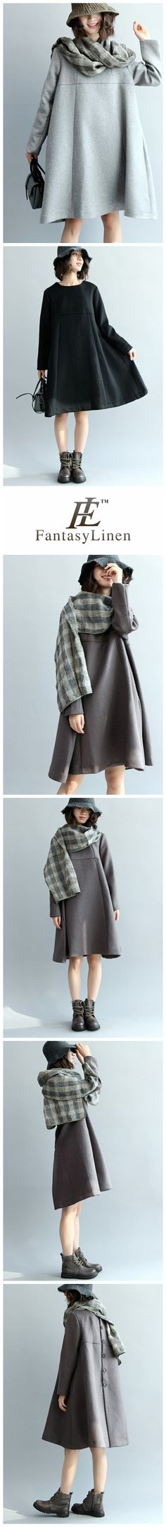A-Style Simple Wool Dress, Long Sleeve Loose Dress Q5437 Q5437Brown