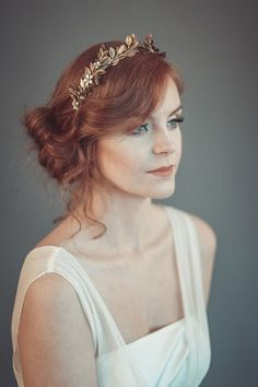 Gorgeous gold leaf tiara, laurel leaf flower crown, inspired by historical hairdress. Bridal headpiece is made from metallic headband, decorated