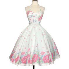 Vintage 1950s Dress//Halter Dress//Floral//Full Circle