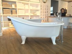 The Chaise bath on feet is a superbly comfortable bath where one end is raised and sloped creating a comfortable lounging position. Victorian Bathroom, Floor Space, Clawfoot Bathtub, Baths, Bespoke, Art Deco, Interior, Inspiration, Design