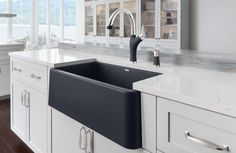 BLANCO IKON™ Silgranit Apron Front Farmhouse Kitchen Sink -- BLANCO is pleased to introduce the world's first apron front sink made of natural granite composite, SILGRANIT® material. The BLANCO IKON™ will not scratch or stain and will maintain its beauty for many years, and is both extremely hard-wearing and exceptionally easy to clean.