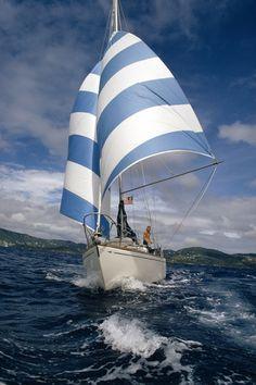 wing on wing under striped sails Boat Art, Sail Away, Tall Ships, Catamaran, Water Crafts, National Geographic, Strand, Sailing Ships, Coastal