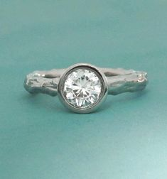 Twig Engagement Ring Palladium 950 and Moissanite by esdesigns