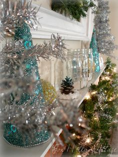 Turquoise Mantle (little trees) Turquoise Christmas, Blue Christmas, Winter Christmas, Christmas Home, Vintage Christmas, Christmas Crafts, Merry Christmas, Christmas Mantles, Christmas Trees
