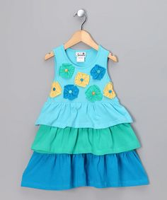 Take a look at this Turquoise Button Flower Dress - Infant, Toddler & Girls by Samara on #zulily today!