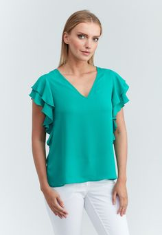 This beautiful v-neck silhouette, styled with a flattering tiered ruffled sleeves to complete your ready to go outfits. Fabric polyester crepe de chine True to size Made in USA of imported material Washable, dry clean recommended Ruffle Sleeve, Tunics, The Selection, Ruffles, V Neck, America, Fabric, T Shirt, Outfits