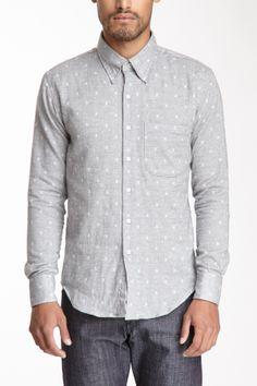 Naked & Famous Denim Slim Long Sleeve Jacquard Shirt