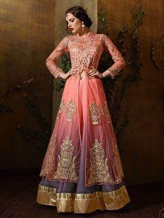 Peach Color Heavy Embroidery Work #Anarkali #Salwar #Kameez Suit for Eid