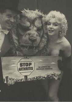Marilyn Monroe and Milton Berle for the Arthritis and Rheumatism Association fundraising benefit organized by Mike Todd and the Ringling Brothers Circus, at Madison Square Garden, March 1955.