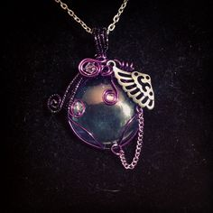 Sold. Wire wrapped glass pendant. Www.etsy.com/shop/BlackRoseChris