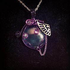 Sold. Wire wrapped glass pendant. Www.etsy.com/shop/BlackRoseChris
