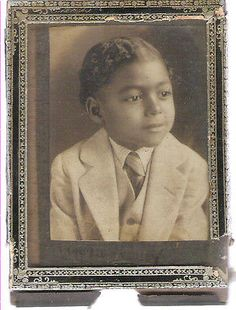 Vintage  1900 -1920's  African American Real Photo Card  Dressed Up Little Boy