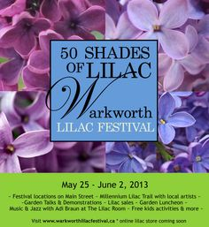 A thirty day celebration of the lilac showcasing many rare lilac varieties. The Festival is held in Warkworth, Ontario, just 90 minutes east of Toronto. Lilac Varieties, Lilac Room, Free Activities For Kids, 25 June, Wine Food, Lilacs, Local Artists, Main Street, Gardening Tips