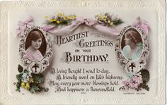 Lilywhite Song Postcard Heartiest Greetings on Your Birthday 2 Young Women