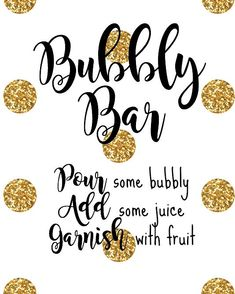 Bubbly Bar Printable Sign by on Etsy Bubbly Bar, Champagne Bar, Mimosa Bar, Drunk Party, Nye Party, Prosecco Bar, Birthday Brunch, Wedding Signs, Wedding Stuff