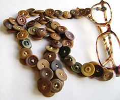 Eyeglass Leash in Vintage Buttons Vegetable Ivory by www.MRSButtons.Etsy.com
