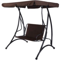 2 Person Canopy Swing Chair Patio Hammock Seat Cushioned Furniture Steel