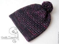 Шапка Черная смородина - темно-фиолетовый,однотонный,шапка,шапка вязаная