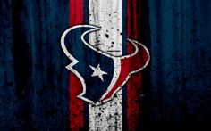 Download wallpapers Houston Texans, 4k, NFL, grunge, stone texture, logo, emblem, Houston, Texas, USA, American football, Southern Division, American Football Conference, National Football League