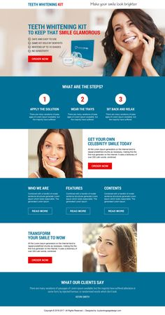 best selling teeth whitening kit selling call to action responsive landing page