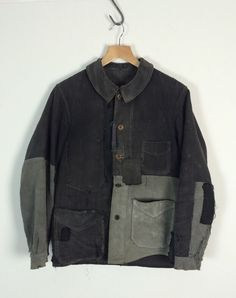 Antique Vtg 1910 french antique black moleskin Linen Patched chore jacket Visvim | eBay