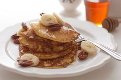 Ricotta Pancakes with Banana-Pecan Syrup from the great Paula Lambert.