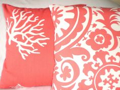 Pillow Decorative Pillows Accent Pillows Throw Pillow Cushion Covers Coral White  - Combo Set 16 x 16 Contemporary