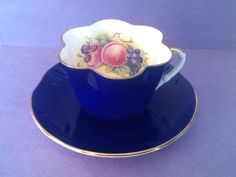 A personal favorite from my Etsy shop https://www.etsy.com/ca/listing/596132152/crown-staffordshire-royal-blue-fruit