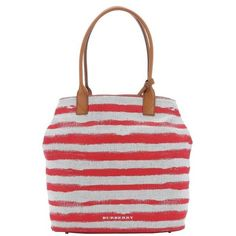 Burberry Pale stone and red striped canvas medium 'Lauriston' shopping... ($635) ❤ liked on Polyvore featuring bags, handbags, tote bags, striped tote, burberry purses, red canvas tote, burberry handbags and striped canvas tote