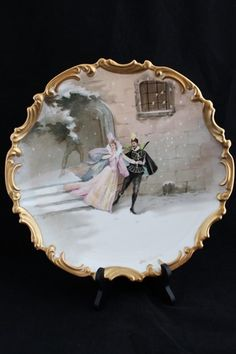 "Antique Limoges L R L Porcelain France Hand Painted Artist Signed Charger Plate 13 1/4"""