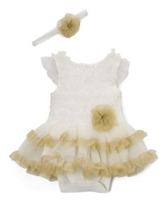 $14.99 marked down from $34! Ivory & Gold Skirted Bodysuit & Headband - Infant #baby #zulilyfinds