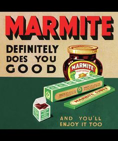 Marmite Definitely Does you good and you'll enjoy it too - Metal Advertising Wall Sign - Retro Art Vintage Advertising Posters, Advertising Signs, Vintage Advertisements, Vintage Ads, Vintage Posters, Vintage Food, Retro Food, Vintage Style, Retro Recipes
