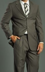 Men'S Three Button Shadow Stripe Taupe Suit