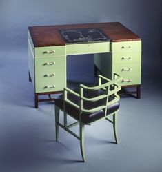 Desk and Chair by Kem Weber (German-American, wood, paint and leather, 1929 Art Deco Dressing Table, Mass Market, Phonograph, Art Deco Era, Tropical Houses, Art Deco Design, Chrome Plating, Industrial Design, Desk