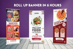 Pop Up Banner, Food Banner, Rollup Banner Design, Standing Banner Design, Roll Up Design, Facebook Cover Design, Retractable Banner, Banner Stands, Food To Go