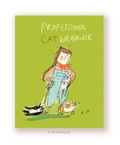 Professional Cat Wrangler Card  Funny Cat Card  by jamieshelman