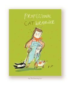 Professional Cat Wrangler Card  Funny Cat Card  by jamieshelman