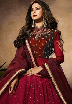 jennifer winget maroon resham work floor length anarkali suit 11030 Beautiful Bollywood Actress, Most Beautiful Indian Actress, Indian Wedding Outfits, Indian Outfits, Floor Length Anarkali, Indian Gowns Dresses, Dress Indian Style, Bridesmaid Outfit, Queen Dress