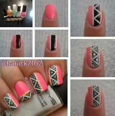 tutorial on tribal nails Love Nails, Pretty Nails, Nagel Hacks, Tribal Nails, Cute Nail Art, Fabulous Nails, Creative Nails, Nail Tutorials, Nail Arts