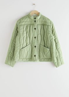 Reversible Lyocell Linen Quilted Jacket - Green White - Jackets - & Other Stories Couture, Look Man, Fashion Story, Green Jacket, Quilted Jacket, Work Wear, White Jackets, Personal Style, Angeles