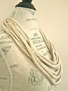 Crocheted Ivory Pearl Scarf Necklace-Jersey Girl-Sport Elegance-Birthday
