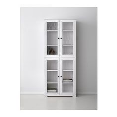 Only $135 - Brown or White - Probably cover bottom glass w/ frosting - BORGSJÖ Glass-door cabinet - white - IKEA