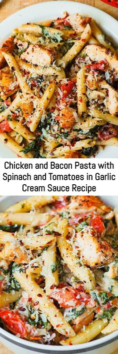 Chicken pasta recipes can get boring.  Not this Italian-inspired recipe!  You'll fall in love with the flavors in this Chicken Pasta with Bacon, Spinach, and Tomatoes in Garlic Cream Sauce.  Easy weeknight dinner that the whole family will love!  Sliced chicken breast and bacon are tossed with veggies and penne pasta in a delicious, creamy, homemade alfredo sauce made with Parmesan cheese. Chicken Pasta Recipes, Easy Pasta Recipes, Easy Meals, Chicken Flavors, Recipe Pasta, Recipe Chicken, Chicken Pasta With Spinach, Cooking With Spinach, Recipe With Spinach