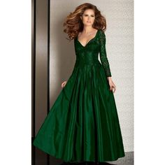 Clarisse M6205 Landing A Long V-Neck Long Sleeve ($595) ❤ liked on Polyvore featuring dresses, gowns, formal dresses, hunter green, long-sleeve maxi dress, evening gowns, lace evening gowns, green evening dresses and long sleeve dress
