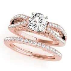 NEW 14k WHITE & ROSE GOLD DIAMOND SEMI-MOUNT ROUND REGAL ANTIQUE ENGAGEMENT RING #SolitairewithAccents