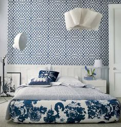 Fun bedroom for young, single adult. Love the wallpaper. Squiggle wallpaper in blue and white, Vivienne Westwood for Cole & Son