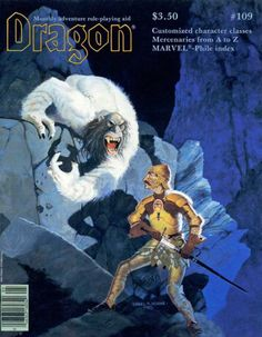 """oldschoolfrp:  """"Attack of the Taer"""" by Daniel Horne, his first cover for Dragon magazine No. 109, TSR, May 1986. I always assumed that was a balding yeti, but taers are a humanoid race from the Monster Manual II that secrete a foul smelling oil to protect them from cold."""