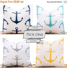 SALE ENDS SOON Nautical Throw Pillows Anchor Pillow by LilyPillow