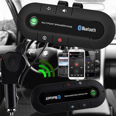 Slim Magnetic Wireless Bluetooth Handsfree Car Kit Phone Speaker Visor Clip UK